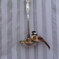 Whimsical Silver Plated Repurposed Ladle Bird Feeder