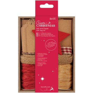 Papermania Create Christmas Felt & Paper Gift Tag Kit-Red