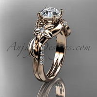 Unique 14k rose gold diamond flower, leaf and vine wedding ring, engagement ring ADLR224