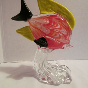 Murano Art Glass paperweight red swirl fish riding ware sculputre with yellow black fins 1960s