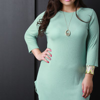 Ribbed Knit Quarter Sleeve Tunic Dress