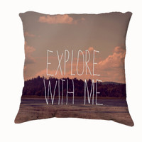 """Throw Pillow-Home Decor- """"Explore With Me"""" 18 x 18 Pillow-Typography--Cream-Home Decor- - $35.00 - Handmade Home Decor, Crafts and Unique Gifts by Vintage Skies Photography & Designs"""