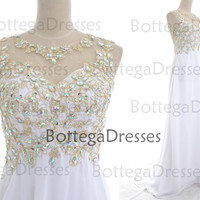 White Prom Dresses, 2014 Prom Gown, Straps Crystal Long Lace/Chiffon White Prom Dresses, Wedding Party Dresses, Long Prom Gown, Formal Gown