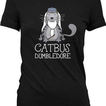 Funny Cat Shirt Catbus Dumbledore Cat Clothing Geekery Movie Parody Kitten T Shirt Movie T Shirt Kitty Gifts For Nerds Ladies Tee WT-320