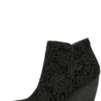 Very Volatile Ophelia Black Lace Wedge Booties
