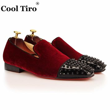 COOL TIRO Fashion Wine red Loafers Velour Spikes Smoking Slip-on Handmade