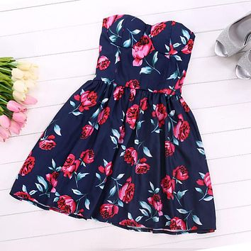 Strapless Off-Shoulder Floral Mini Pleated A-line Dress