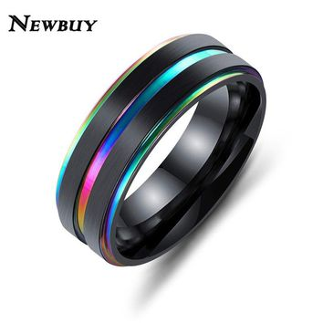 NEWBUY Black Stainless Steel Men Finger Rings Multicolor/Gold Color Cool Male Rings Gift Unique Promise Jewellery