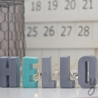 HELLO Sign Front Door Decor, Hallway Art, Concrete Gray HOME Decor Essential Oil Diffuser, Custom Foyer Decor Gray, Coral Gray Aroma Stone