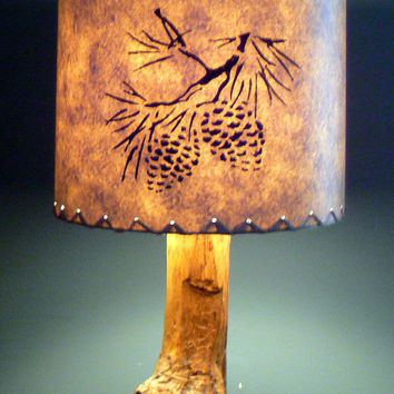 Pine Cone Drum Lamp Shade, Stenciled Paper, Rustic Cabin Decor