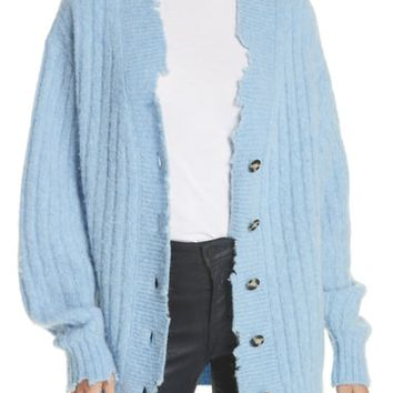 Helmut Lang Distressed Wool & Alpaca Blend Cardigan | Nordstrom
