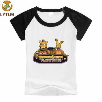LYTLM Five Night at Freddy Sportwear Short Sleeves Boys T-shirts 5 Nights at  Boy T Shirts for Children Summer White Top