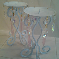 2 Pale Aqua Shabby Chic Candleholders Pink and Iridescent Chandelier Crystals Shabby Chic French Country Cottage Style