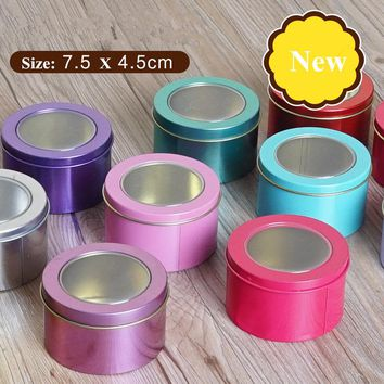 12 Pieces/Lot Cheap Mini Tin Tea Storage Box, Small Round Cake/Coin/Candy Metal Box Case Wedding Favor Organizer Container