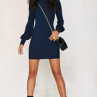 Lantern Sleeve Turtle-Neck Bodycon Dress