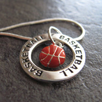 Basketball Necklace Silver Basketball Charm by SilveradoJewelry