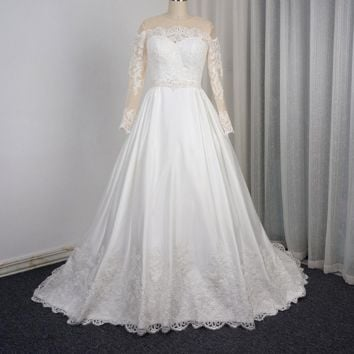 Long Sleeve Wedding Dress Ball Gown Designer Pocket Lace Appliqued