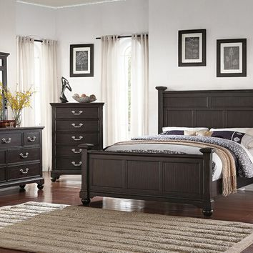 5 pc patricia iii collection espresso finish wood tufted upholstered headboard queen bedroom set