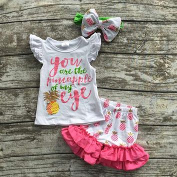 DCK9M2 baby girls summer boutique clothes girls you are the pineapple of my eye set  summer ruffle shorts with matching headband