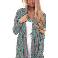 Grey and Mint Striped Drape Collar Cardigan