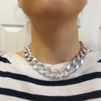Thick and Chunky Shiny or Matte Silver Chain Necklace