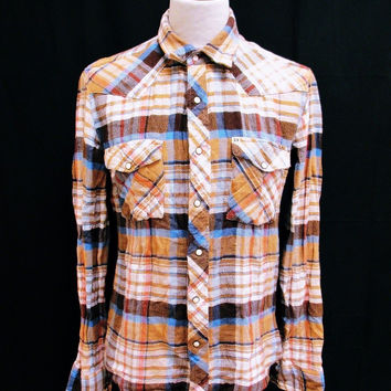 Retro Salt Valley Gold Hipster Plaid Lumberjack Designer Shirt Medium