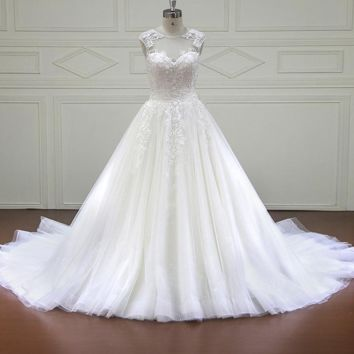 Luxury Wedding Dresses Royal Train Lace Appliques tulle Cap Sleeve Wedding Dress