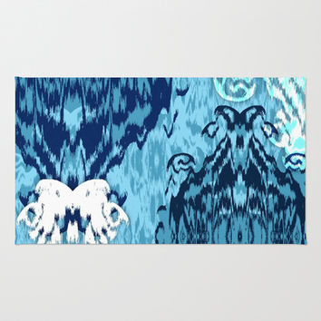 Ikat Medallions: Blue Area & Throw Rug by Eileen Paulino
