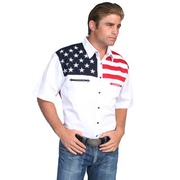 Scully Mens American Patriotic Antique Short Sleeve Shirt