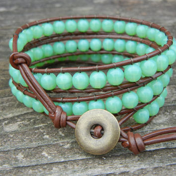Green Beaded 3 Wrap Bracelet