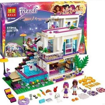 DCCKL72 Bela 10498 Friends Series Livi's Pop Star House Building Blocks Andrea mini-doll figures Toy Compatible With Legoe Friends 41135