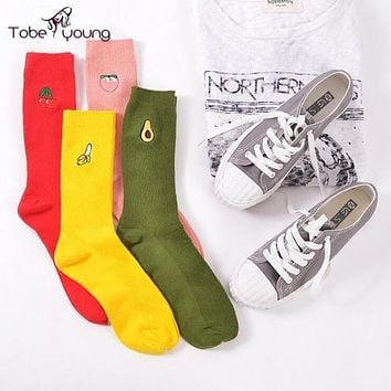 2017 New Cute Fruits Embroidery Cotton Warm High Socks For Women Girl Autumn Winter 3D Cartoon Sock femme Harajuku Character