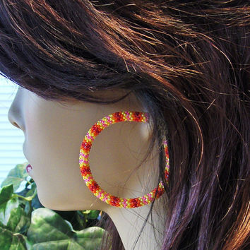 Hoop Earrings Beaded In Pink and Fire Colors Glass Seed Beads/Earrings/Stud Earrings/Gifts For Her/Beaded Earrings/Jewelry