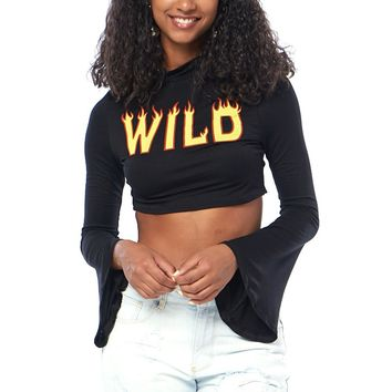 Wild Fire Long Bell Sleeves Crop Top