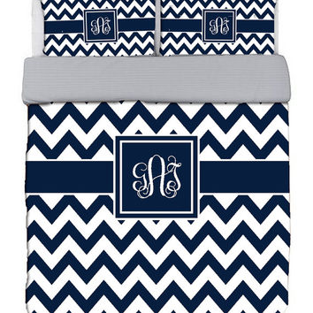 Custom Personalized Chevron Duvet Cover and shams - Twin, QUEEN or King size -Choose from Bedding Swatch Colors