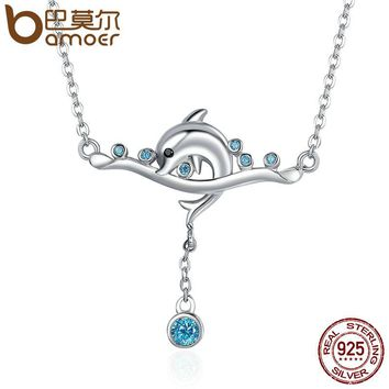 925 Sterling Silver Dolphin Love Story & Clear CZ Pendant Necklaces for Women Sterling Silver Jewelry SCN145
