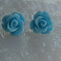 Blue rose earrings- Mini blue rose earrings- Blue roses- Blue earrings- Blue- Sky blue- Fashion- Feminine
