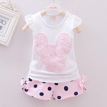 Summer 2016 Girl Clothes 100% Cotton Minnie Sleeveless Vest +Shorts Suit Children Dot leggings Clothes bebes Baby Girls Clothing