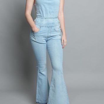 Strappy Denim Jumpsuit AJR968 - H2I
