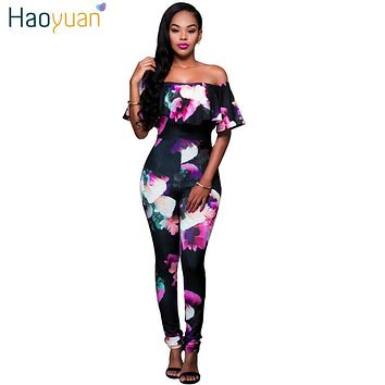 HAOYUAN S-4XL Ruffle Off Shoulder Jumpsuit Womens Elegant Floral Big Plus Size Party Club Overalls Sexy Rompers Womens Jumpsuit