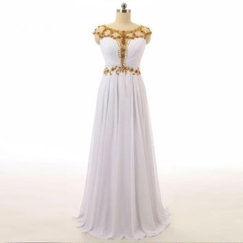 A line Cap sleeve Beaded Chiffon Floor length long special occasion dresses