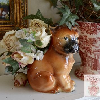 Vintage English Country Boxer Dog Figurine Planter / Flower Pot / Utensil or Pen Holder
