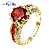Luxurious Ruby Jewelry Wedding Engagement Accessories 18K Gold Plated Women Rings For Party New (JewelOra RI101653)