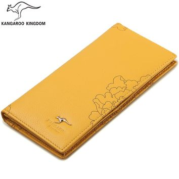 Kangaroo Kingdom Famous Brand Women Wallets Long Genuine Leather Wallet Purse Ladies