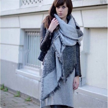 Women Wool Scarf Thicken Wrap Spring Winter Fashion Blanket Scarf Cashmere Pashmina Shawl Warm Scarves Cape Mujer 3 Color