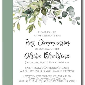 Leafy Greenery First Communion Invitations