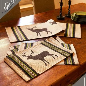 Bear or Deer Silhouette Cotton Table Linens Centerpiece or Place Mats Rustic Lodge Decor