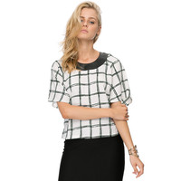 Black and White Plaid Top with Leather Neckline