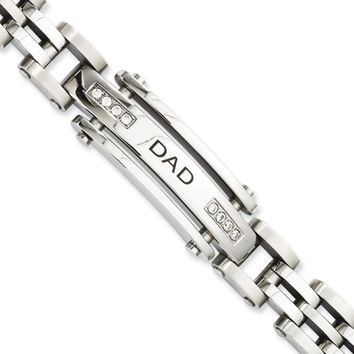 Men's Stainless Steel and Cubic Zirconia DAD I.D. Bracelet, 8.5 Inch