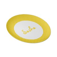 Personalized Yellow Polka Dot Kid's Party Plates